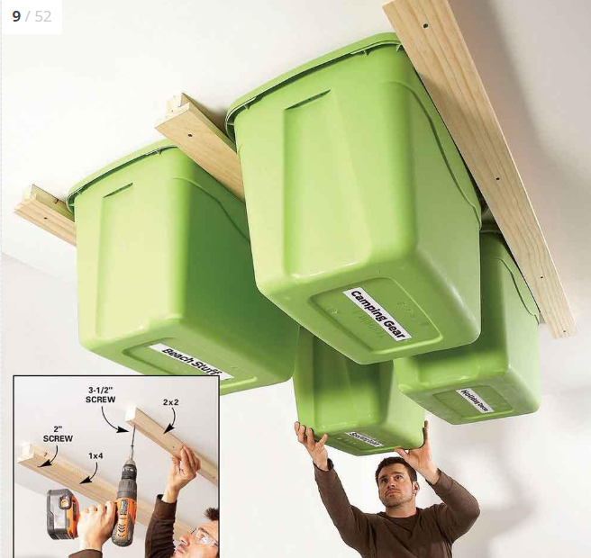 Garage Ceiling Track Storage with Bins